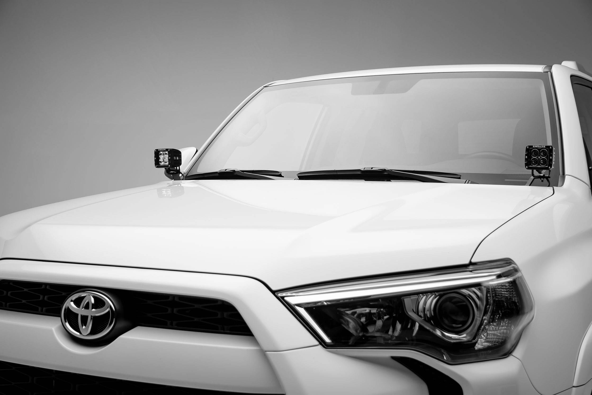 ZROADZ - 2014-2020 Toyota 4Runner Hood Hinge LED Kit with (2) 3 Inch LED Pod Lights - PN #Z369491-KIT2