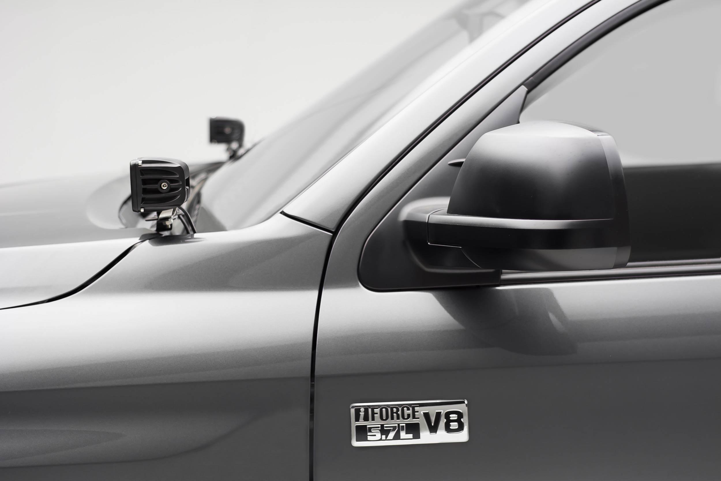 ZROADZ OFF ROAD PRODUCTS - 2014-2021 Toyota Tundra Hood Hinge LED Bracket to mount (2) 3 Inch LED Pod Lights - PN #Z369641