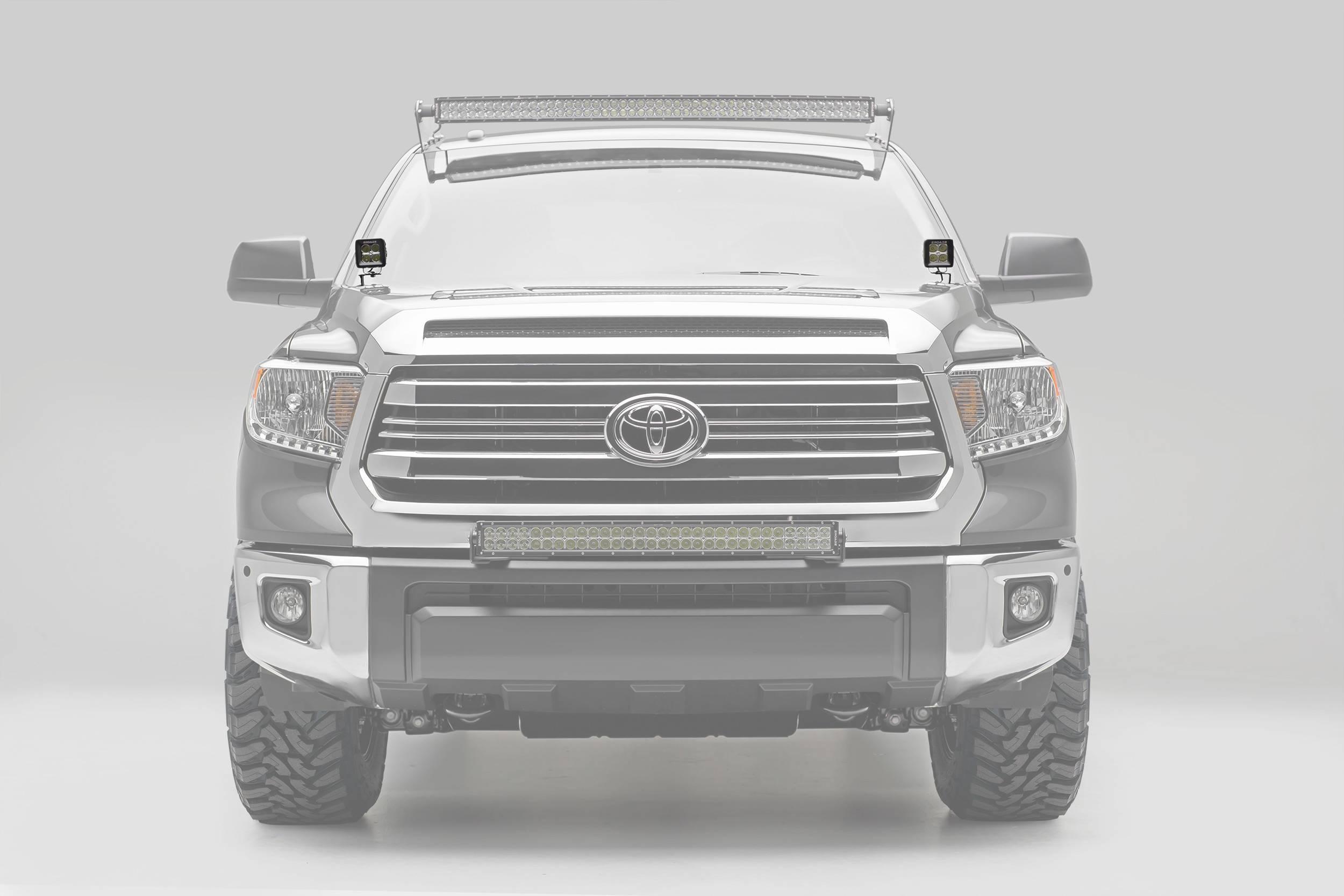 ZROADZ - 2014-2021 Toyota Tundra Hood Hinge LED Kit with (2) 3 Inch LED Pod Lights - PN #Z369641-KIT2