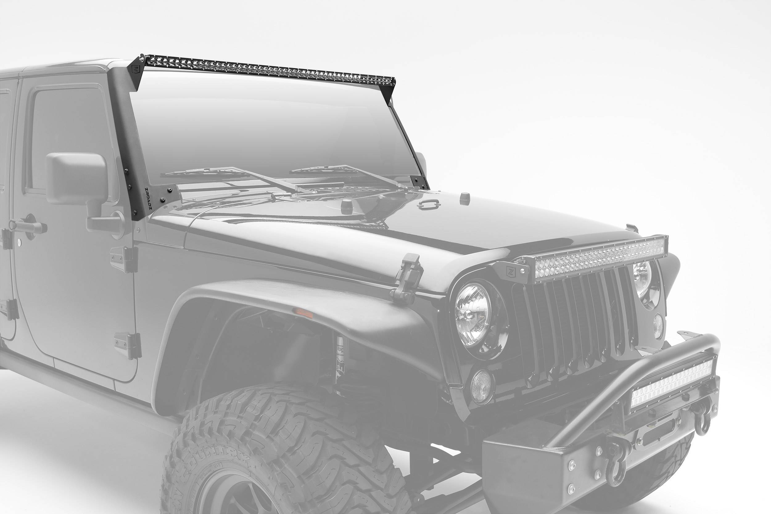 ZROADZ OFF ROAD PRODUCTS - 2007-2017 Jeep JK Front Roof LED Kit with (1) 50 Inch LED Straight Single Row Slim Light Bar - PN #Z374711-KIT