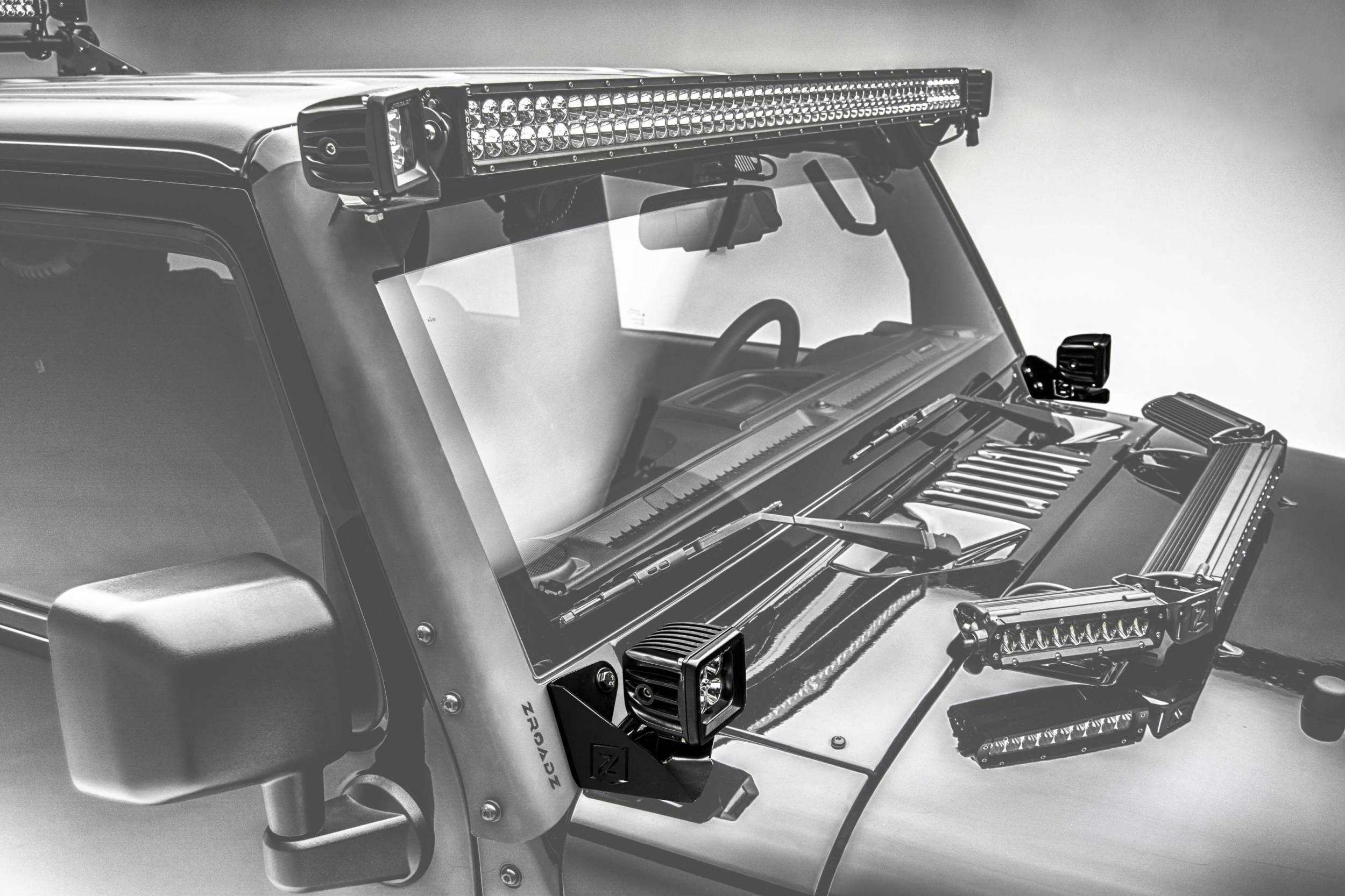 ZROADZ - 2007-2018 Jeep JK Lower A Pillar LED Bracket to mount (2) 3 Inch LED Pod Lights - PN #Z374814