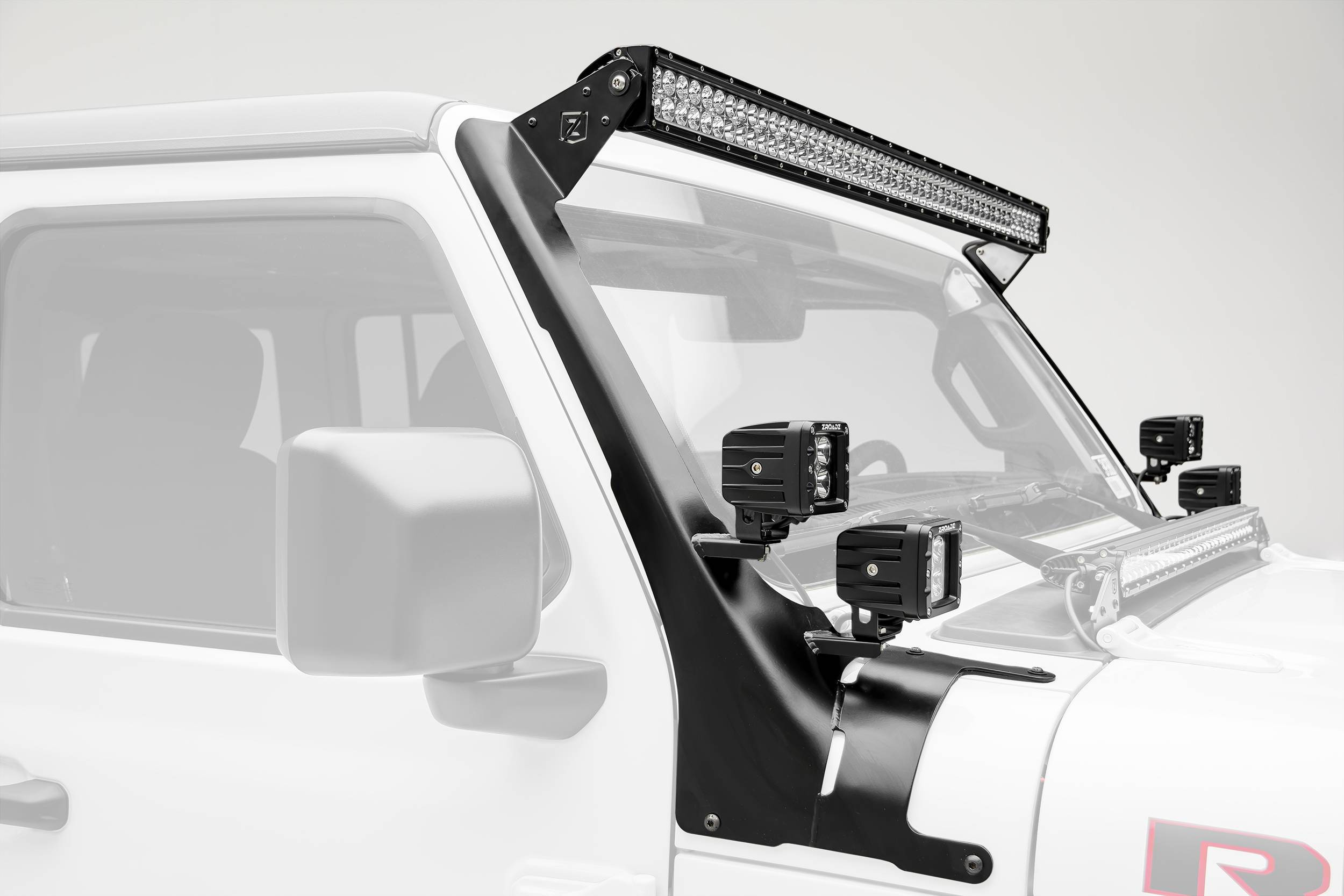 ZROADZ - Jeep JL, Gladiator Front Roof LED Bracket to mount (1) 50 or 52 Inch Straight LED Light Bar and (4) 3 Inch LED Pod Lights - PN #Z374831-BK4