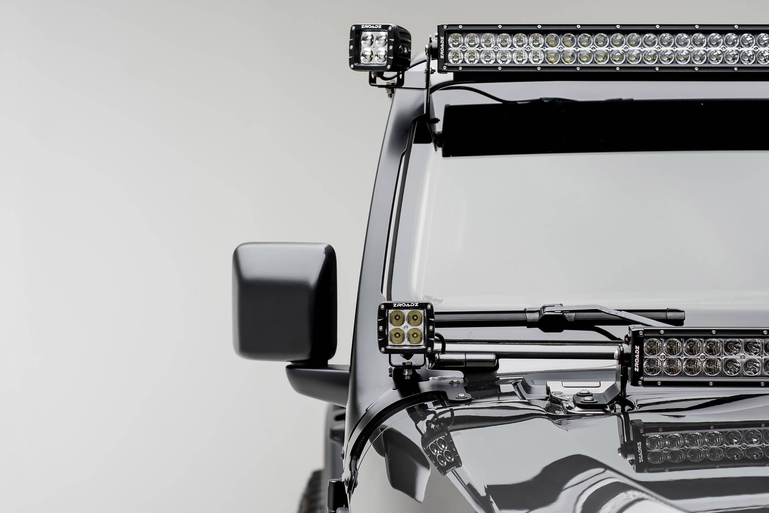 ZROADZ - Jeep JL, Gladiator Front Roof LED Kit with (1) 50 Inch LED Straight Double Row Light Bar and (2) 3 Inch LED Pod Lights - PN #Z374831-KIT2
