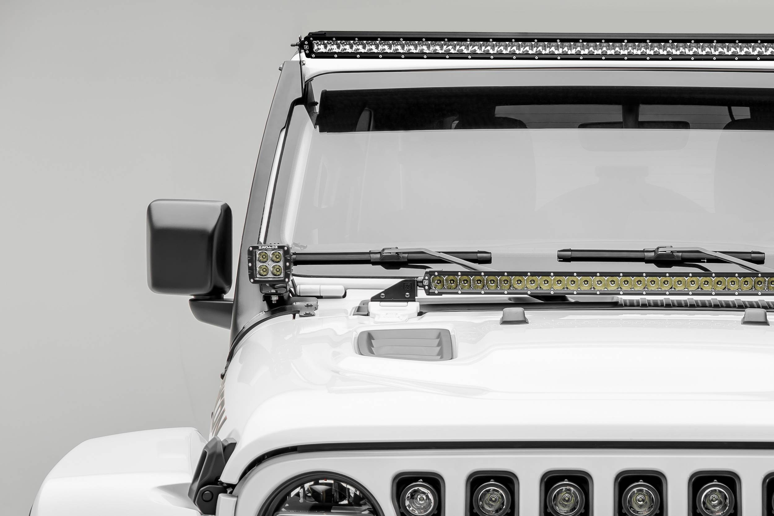ZROADZ - Jeep JL, Gladiator Front Roof LED Kit with (1) 50 Inch LED Straight Single Row Slim Light Bar and (2) 3 Inch LED Pod Lights - PN #Z374831-KIT2S