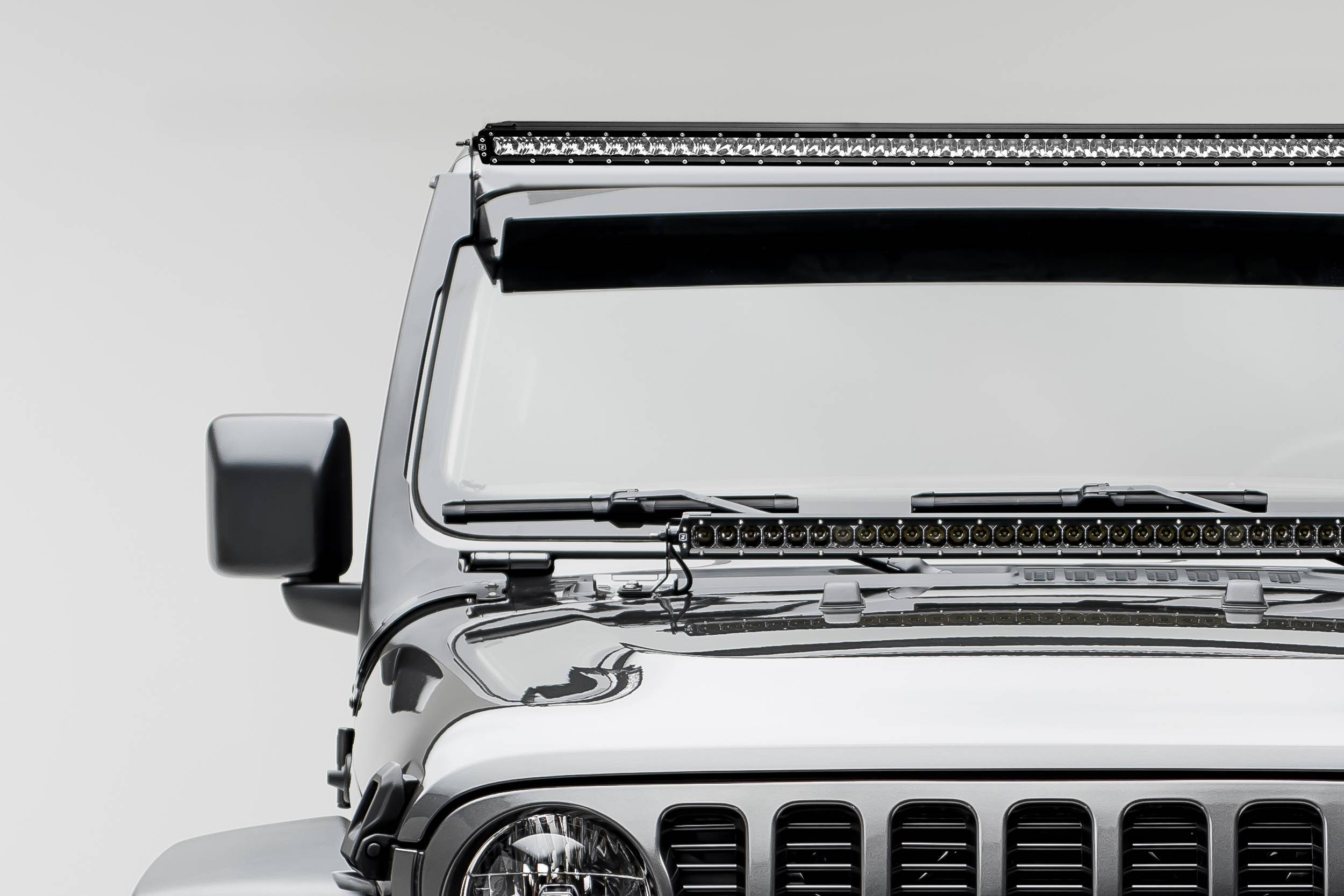 ZROADZ - Jeep JL, Gladiator Front Roof LED Kit with (1) 50 Inch LED Straight Single Row Slim Light Bar - PN #Z374831-KITS