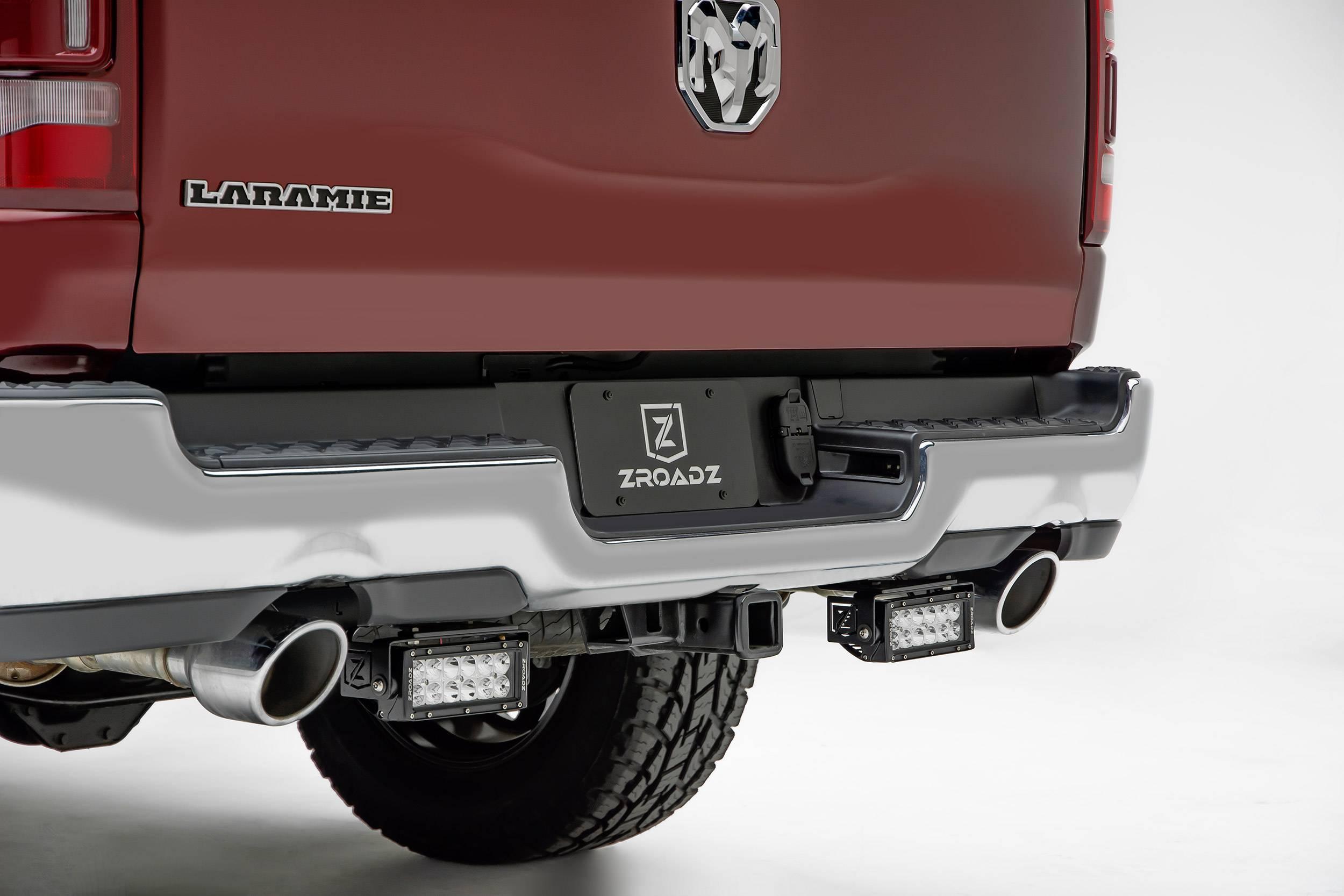 ZROADZ - 2019-2021 Ram 1500 Rear Bumper LED Kit with (2) 6 Inch LED Straight Double Row Light Bars - PN #Z384721-KIT
