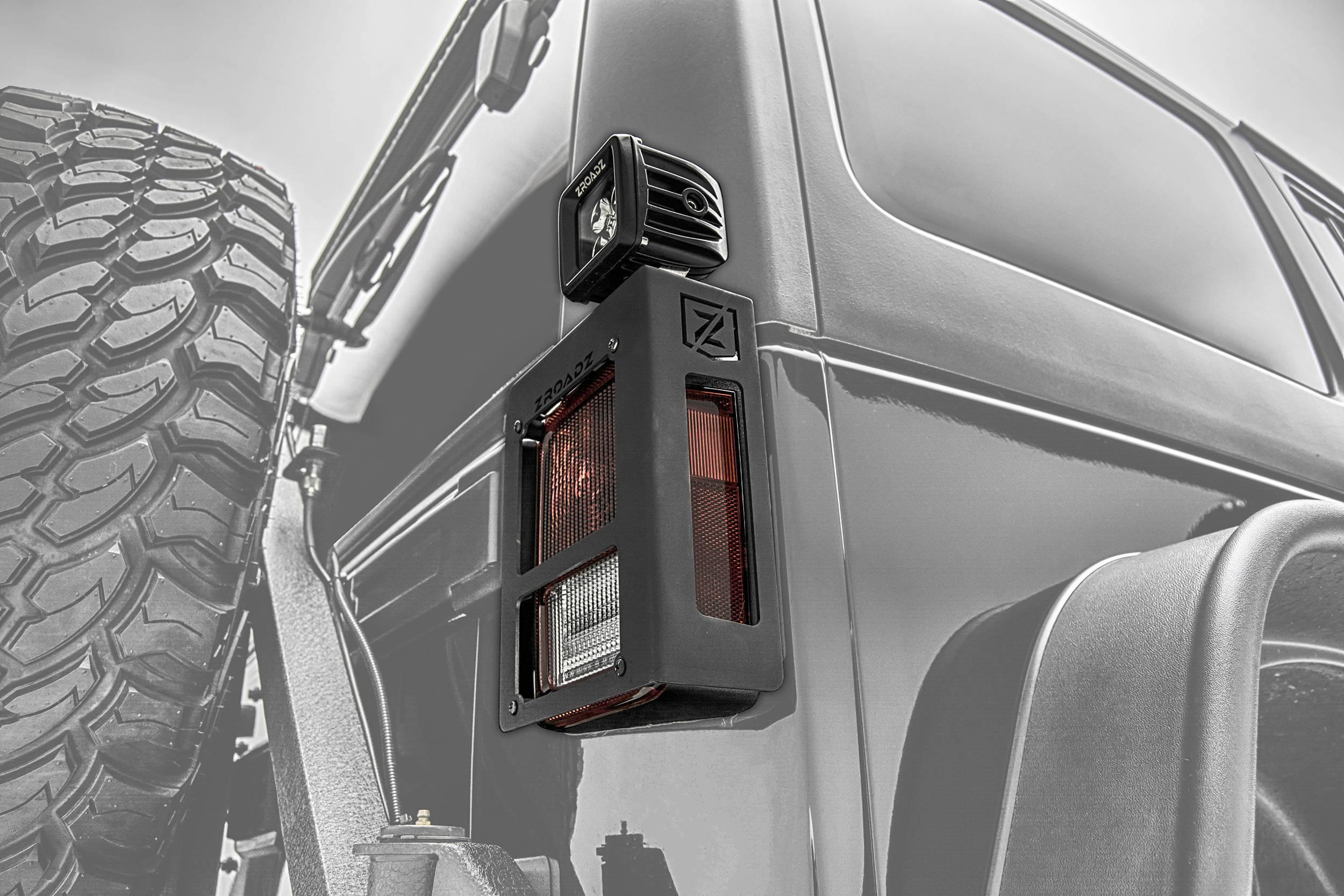 ZROADZ - 2007-2018 Jeep JK Tail Light Protector LED Bracket to mount (2) 3 Inch LED Pod Lights - PN #Z384811