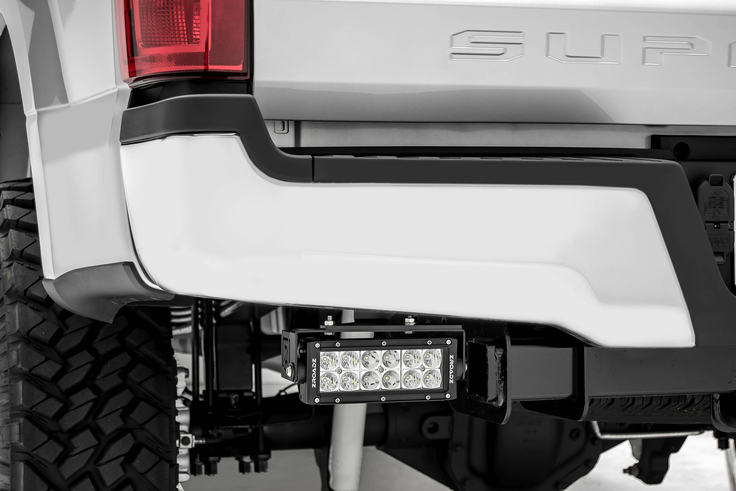 ZROADZ - 2017-2021 Ford Super Duty Rear Bumper LED Kit with (2) 6 Inch LED Straight Double Row Light Bars - PN #Z385471-KIT