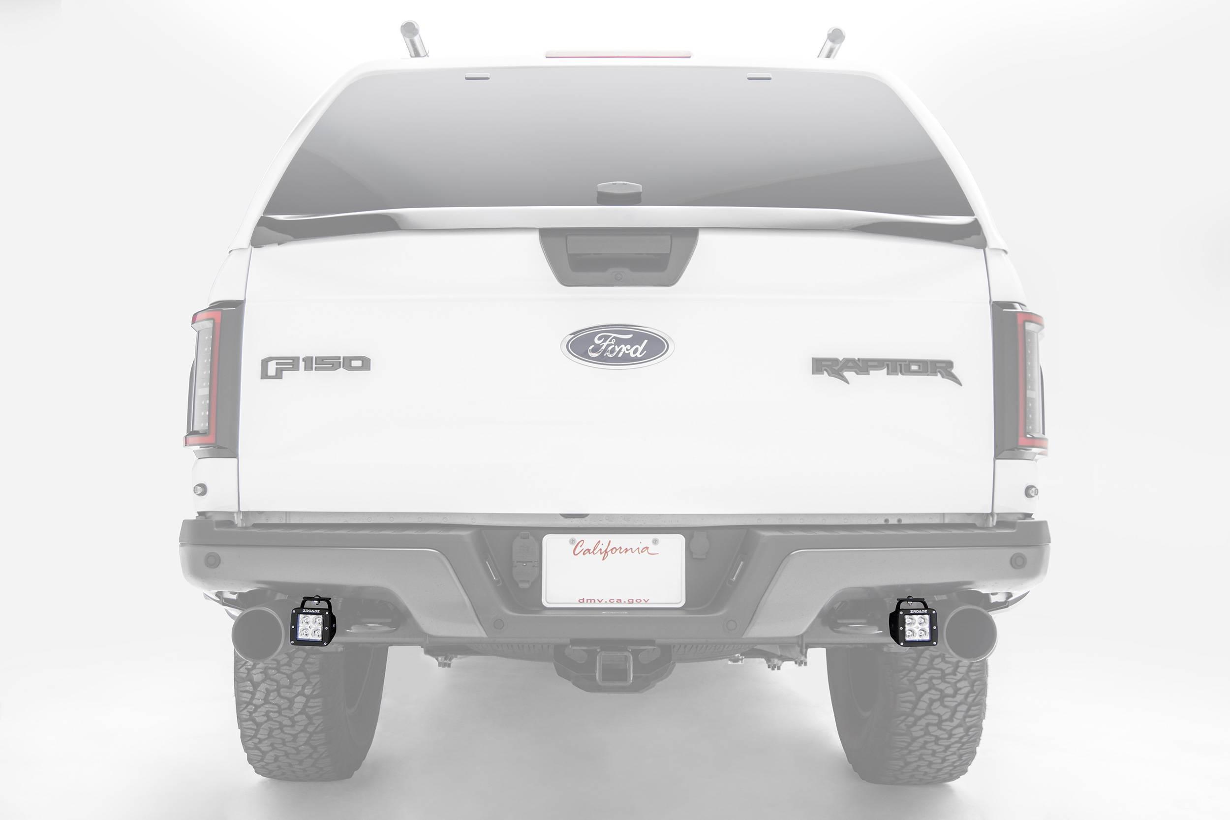 ZROADZ - 2017-2021 Ford F-150 Raptor Rear Bumper LED Kit with (2) 3 Inch LED Pod Lights - PN #Z385651-KIT