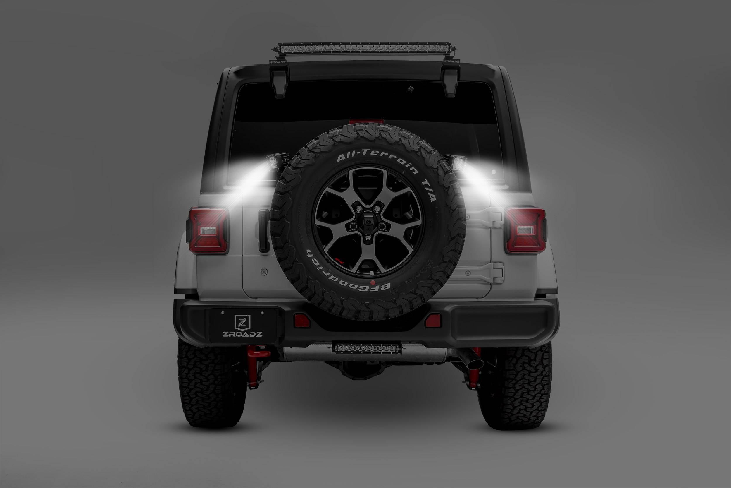ZROADZ - 2018-2021 Jeep JL Rear Tire Carrier LED Bracket to mount (2) 3 Inch LED Pod Lights - PN #Z394951