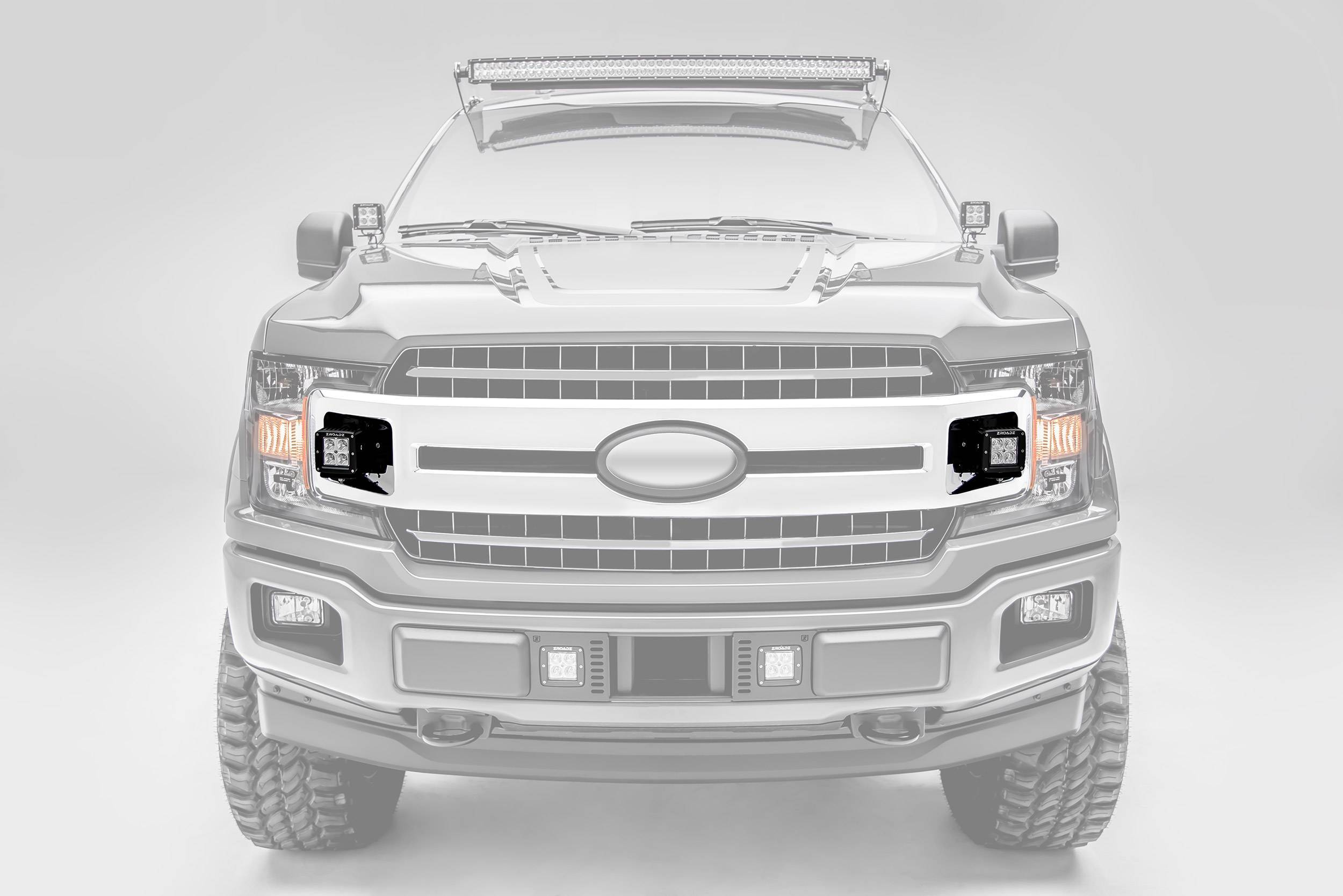 ZROADZ - 2018-2020 Ford F-150 XLT, Sport, Super Crew OEM Grille LED Kit with (2) 3 Inch LED Pod Lights - PN# Z415751-KIT