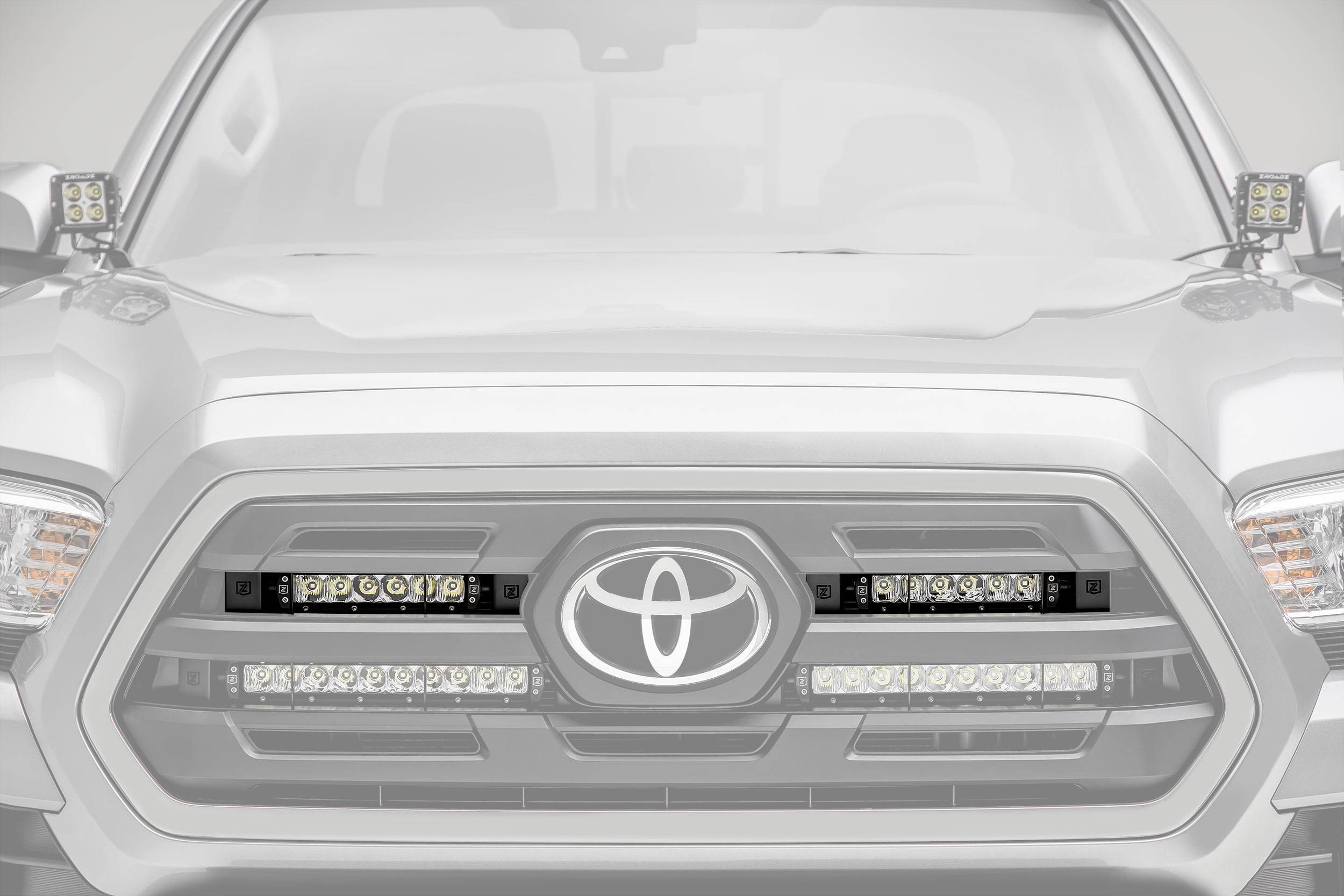 ZROADZ - 2018-2019 Toyota Tacoma OEM Grille LED Kit with (2) 6 Inch LED Straight Single Row Slim Light Bars - PN #Z419511-KIT