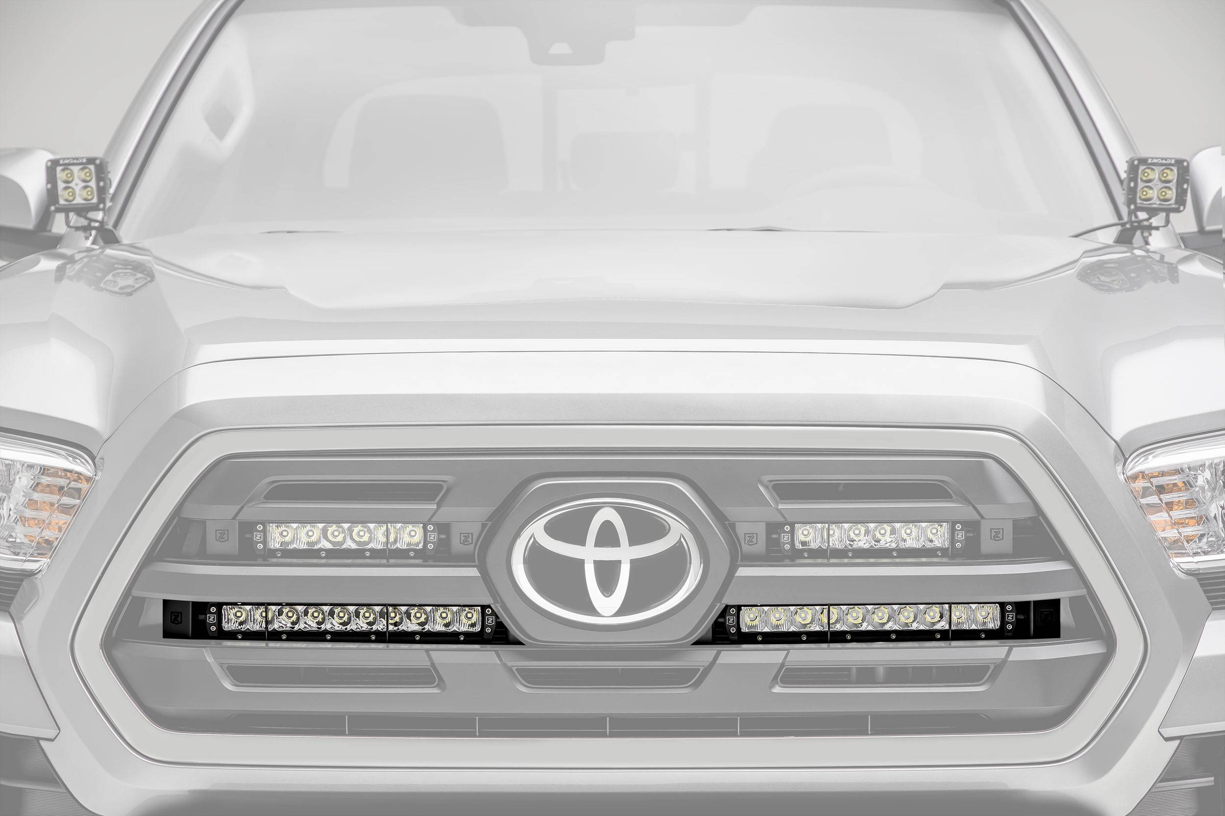 ZROADZ - 2018-2019 Toyota Tacoma OEM Grille LED Kit with (2) 10 Inch LED Single Row Slim Light Bars - PN #Z419611-KIT