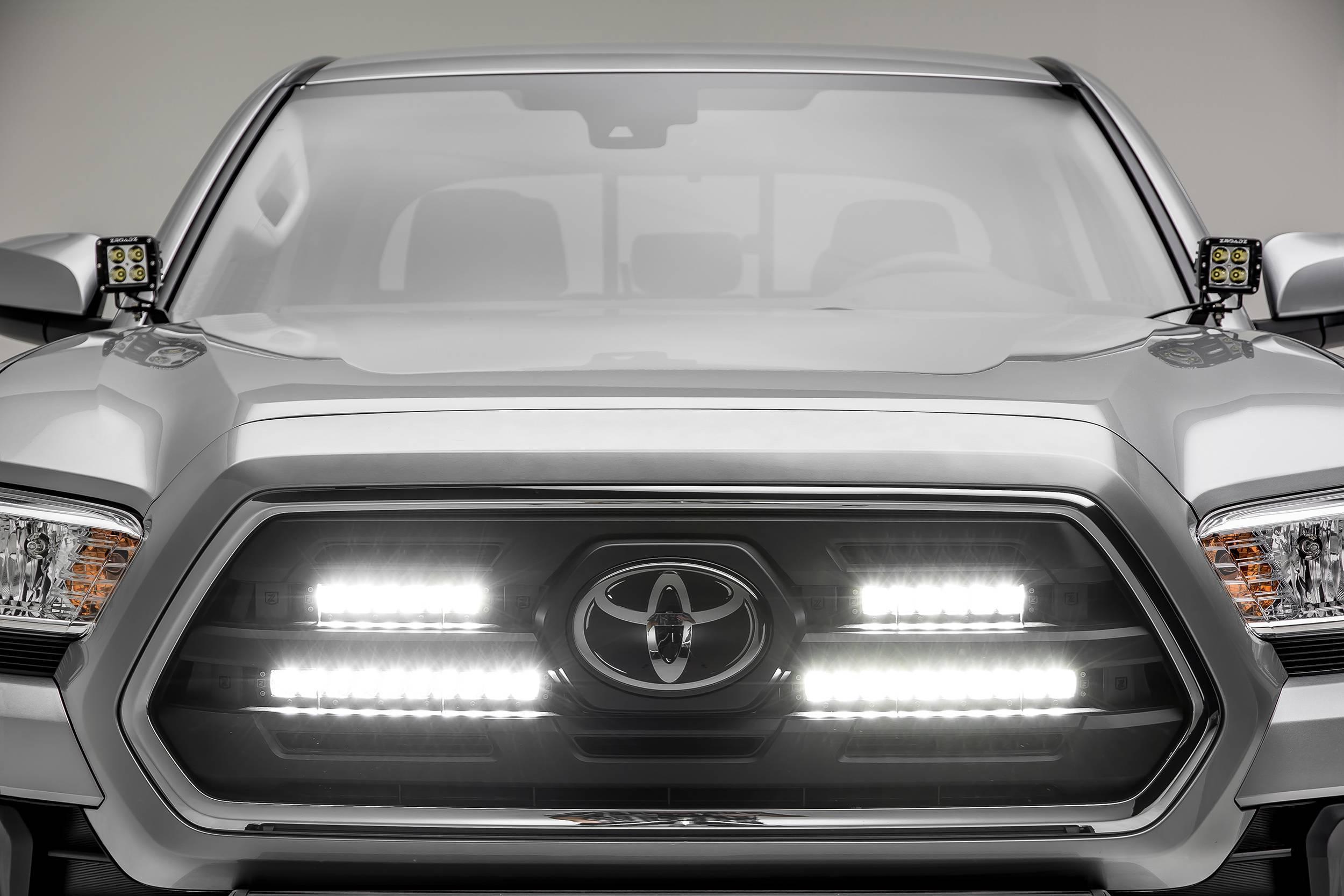 ZROADZ - 2018-2019 Toyota Tacoma OEM Grille LED Kit with (2) 6 Inch and (2) 10 Inch LED Straight Single Row Slim Light Bars - PN #Z419711-KIT