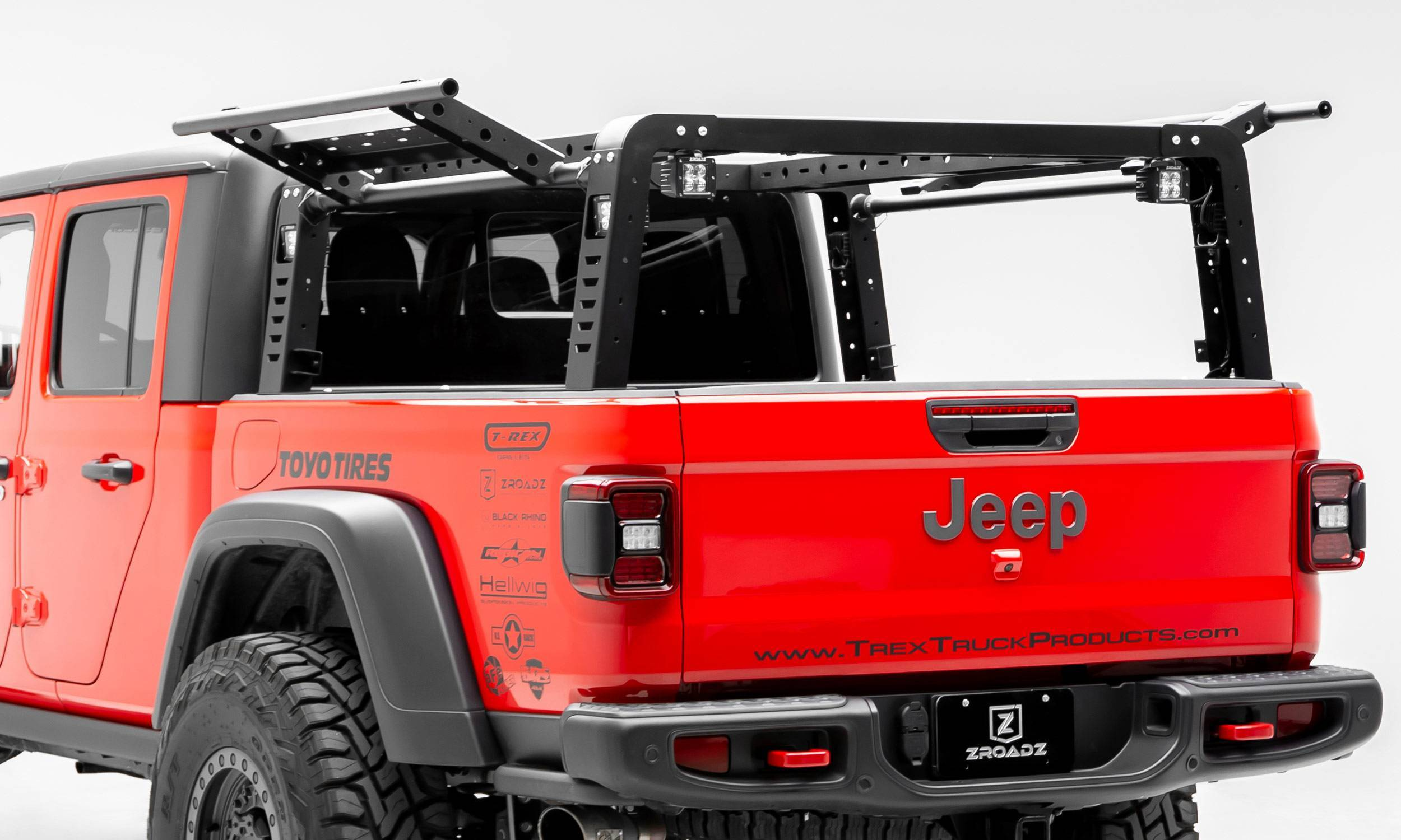 ZROADZ OFF ROAD PRODUCTS - 2019-2021 Jeep Gladiator Overland Access Rack With Two Lifting Side Gates, Without Factory Trail Rail Cargo System - PN #Z834101