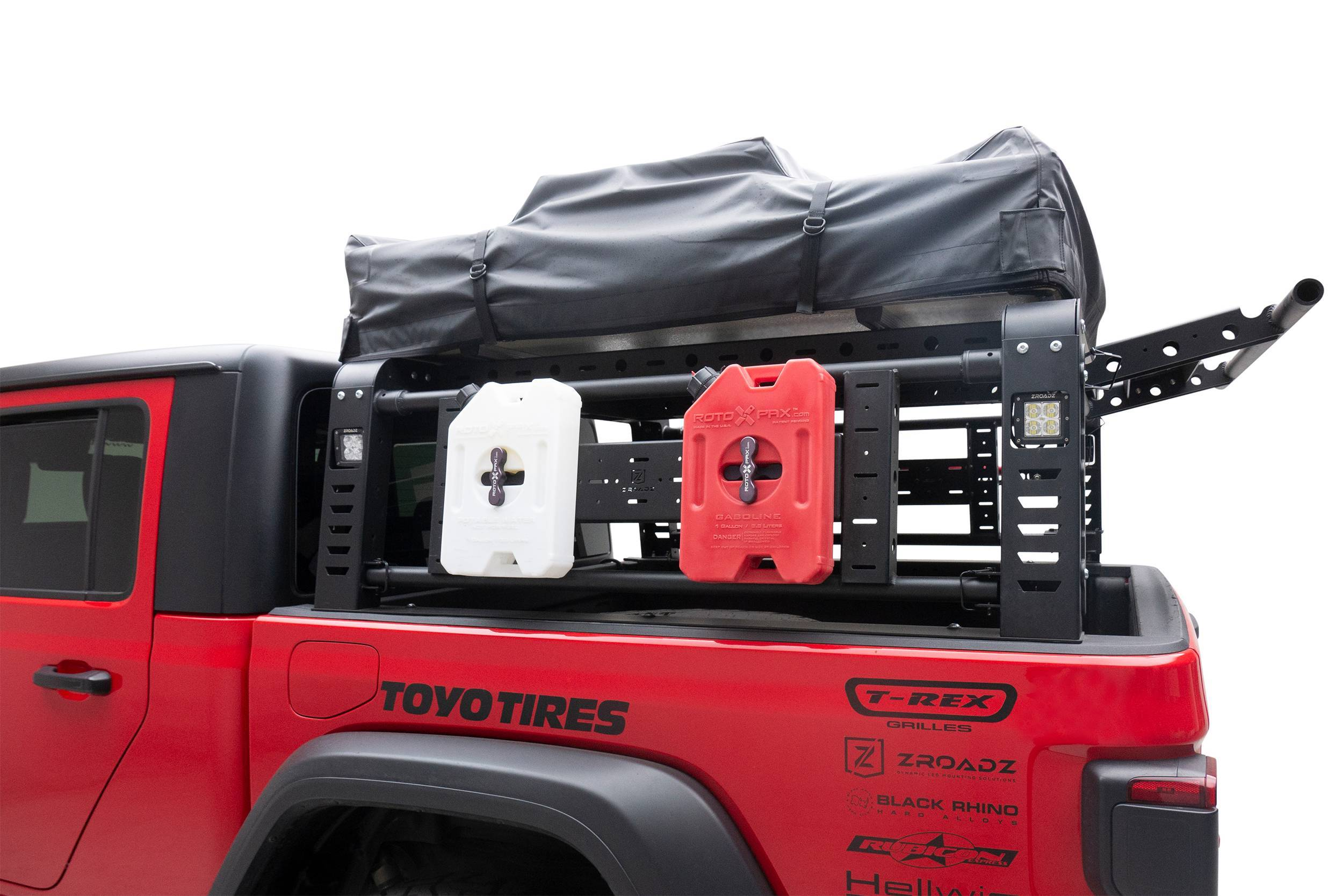 ZROADZ OFF ROAD PRODUCTS - 2019-2021 Jeep Gladiator Access Overland Rack With Three Lifting Side Gates, Without Factory Trail Rail Cargo System - PN #Z834201