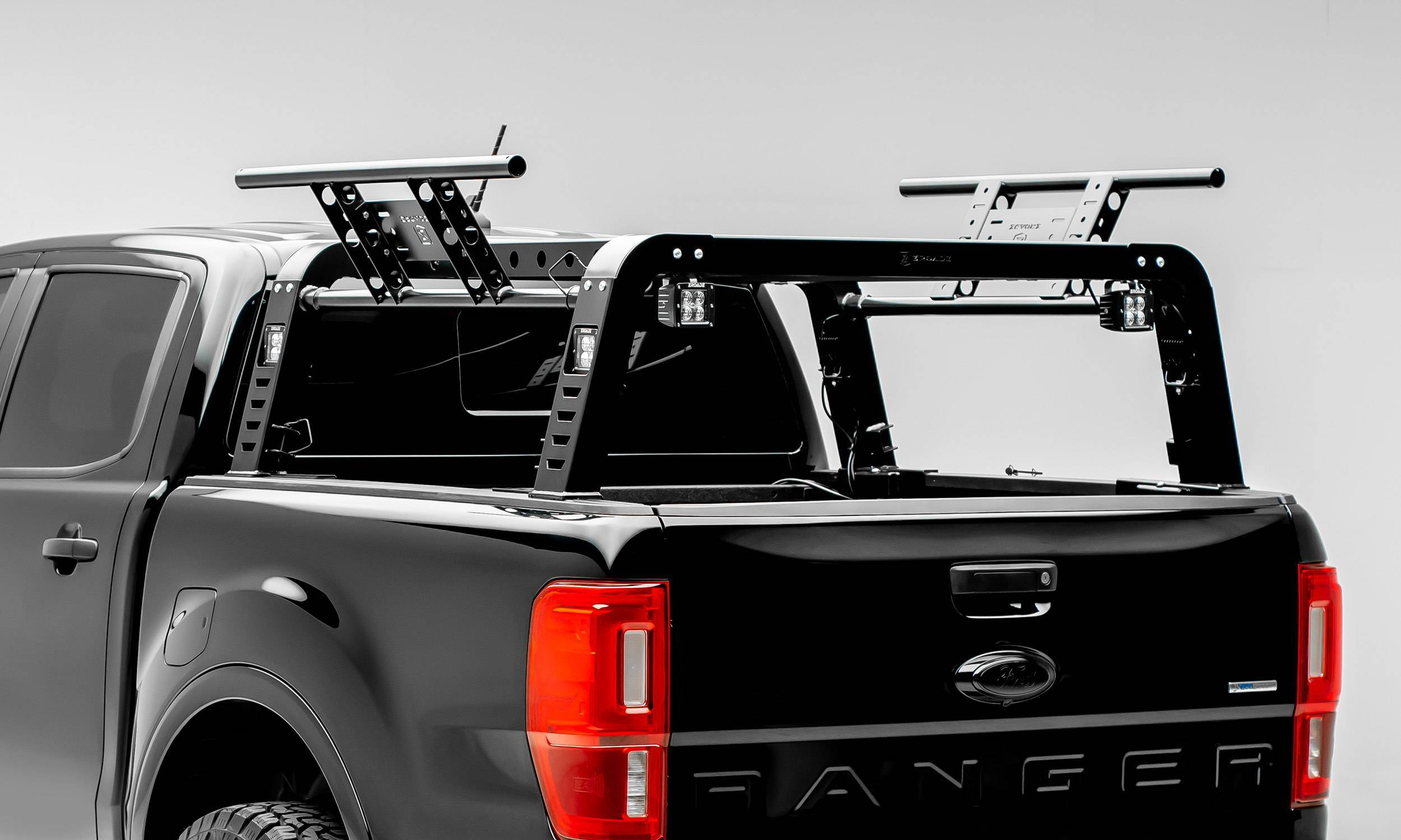 ZROADZ - 2019-2021 Ford Ranger Overland Access Rack With Two Lifting Side Gates and (4) 3 Inch ZROADZ LED Pod Lights - PN #Z835101