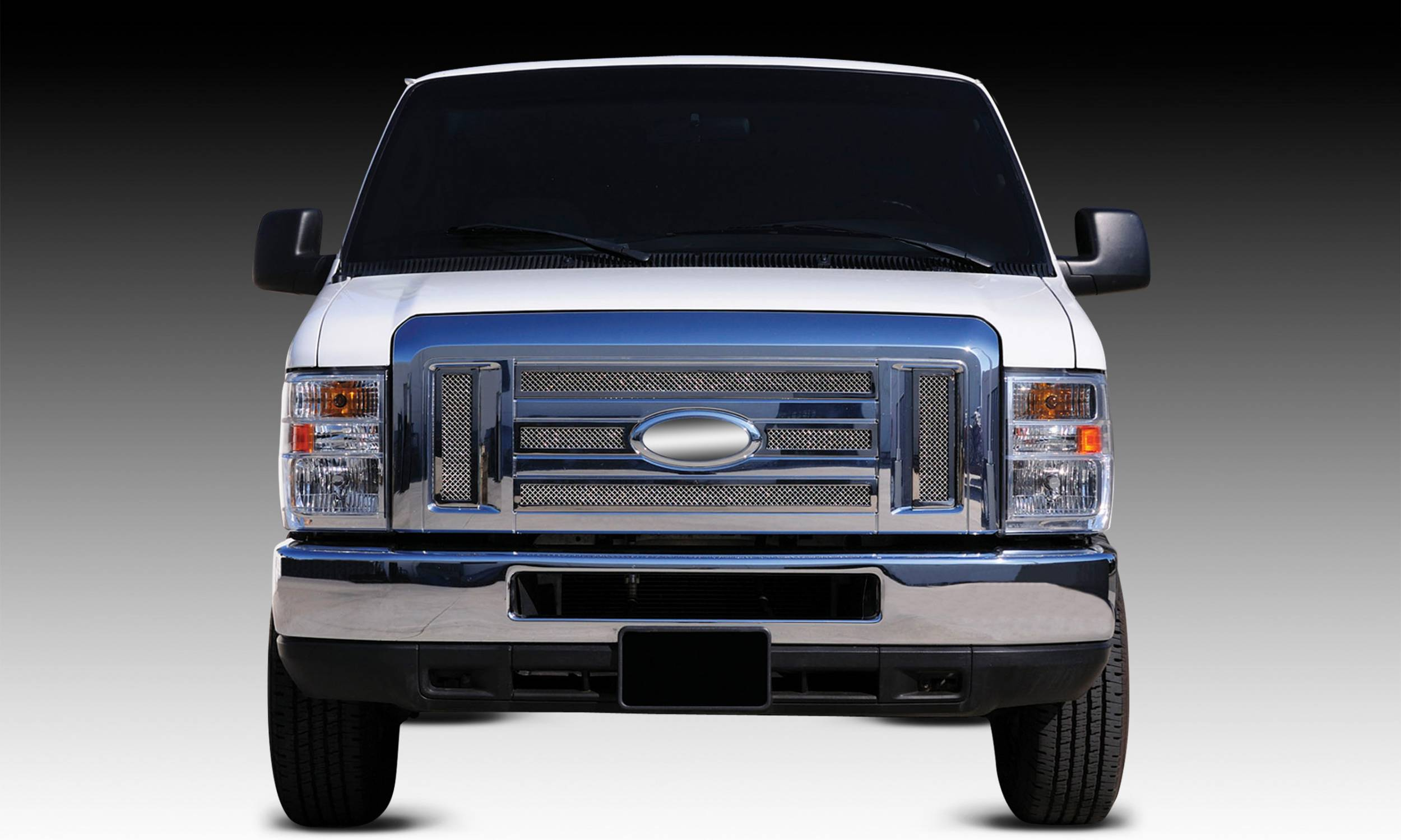 T-REX Grilles - 2008-2014 Ford Econoline XLT Upper Class Series Main Grille, Polished, 6 Pc, Overlay - PN #54501