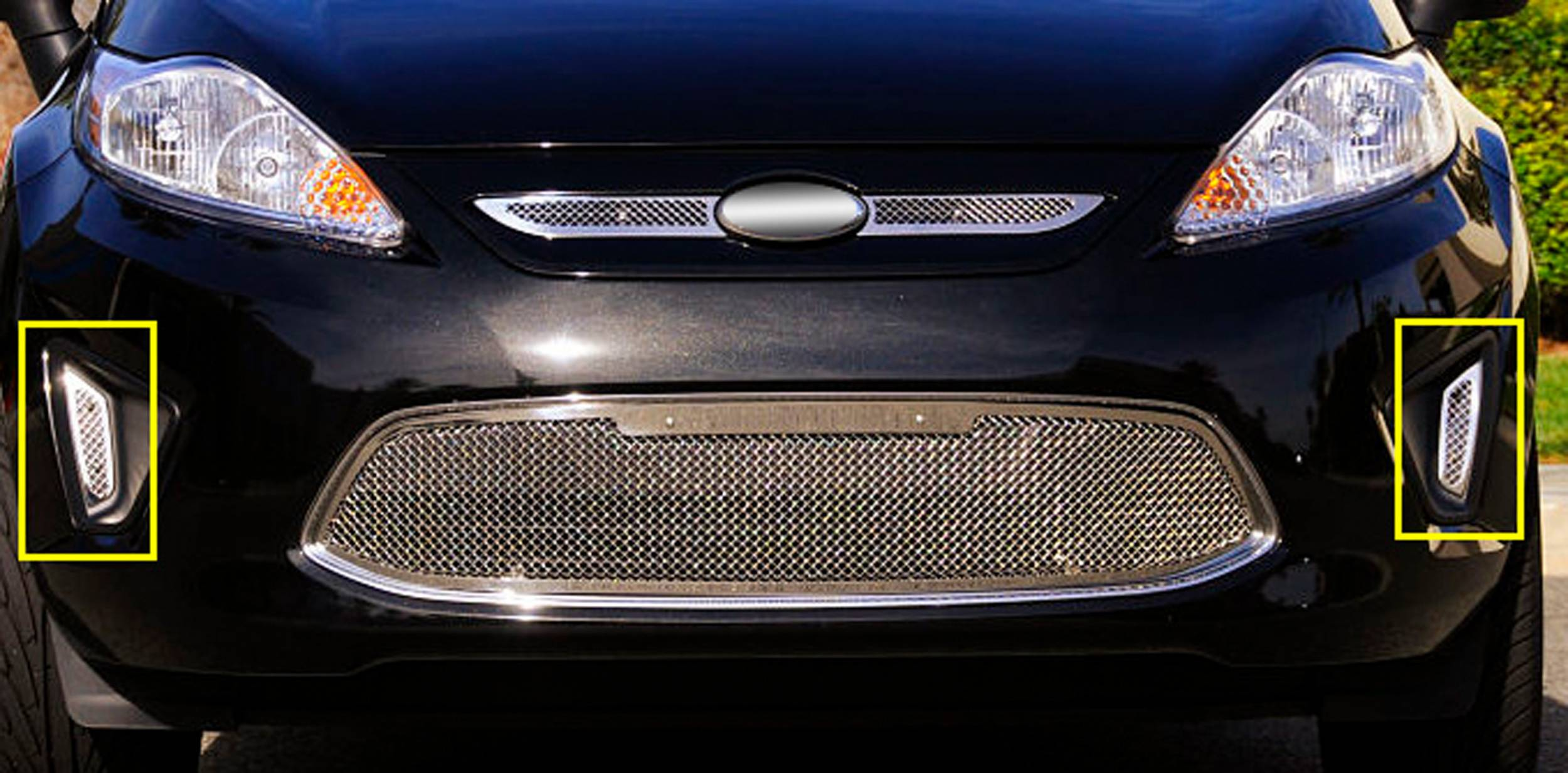 T-REX Grilles - 2011-2013 Ford Fiesta SE, SEL Upper Class Series Bumper Grille, Polished, 2 Pc, Bolt-On - PN #11588
