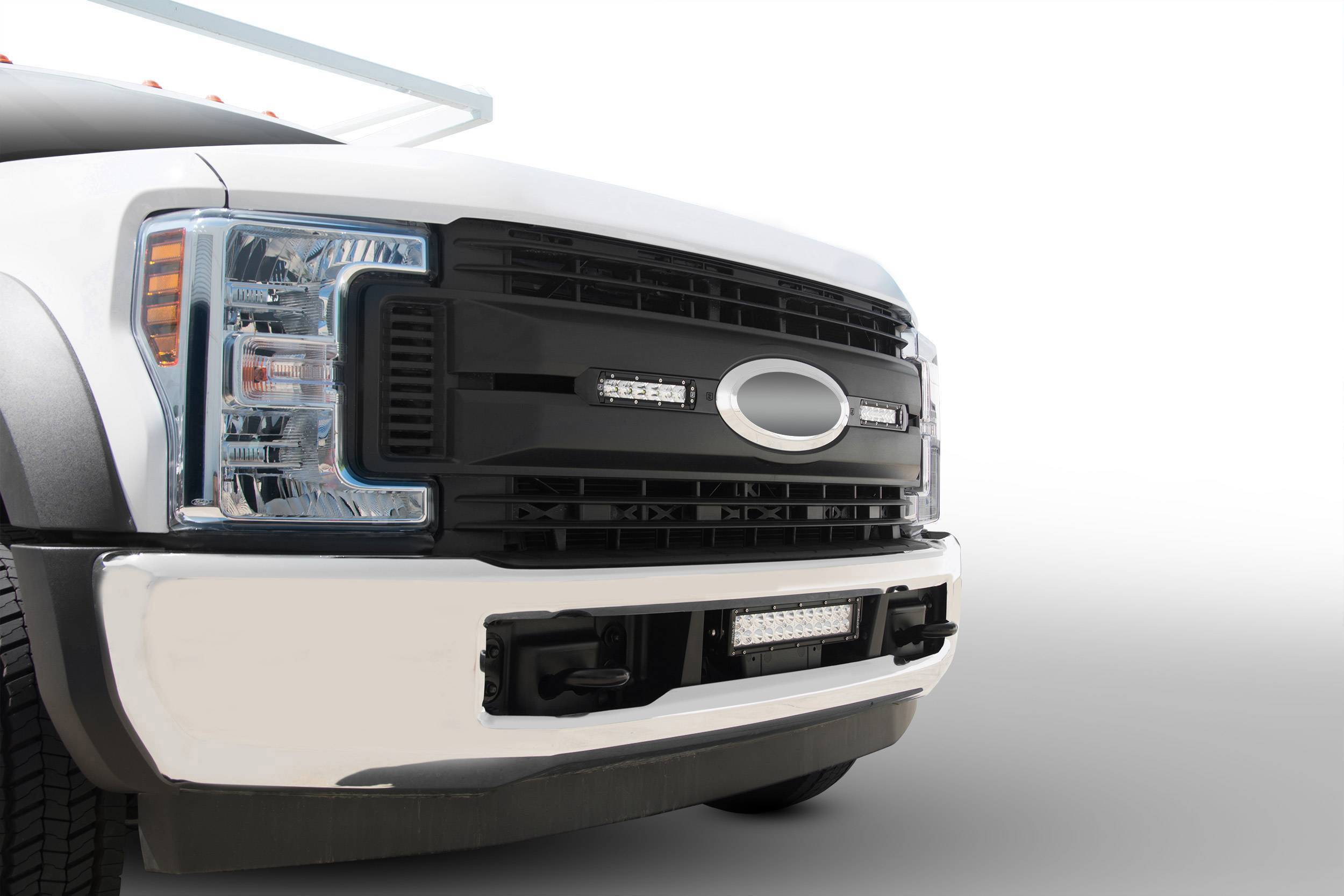 ZROADZ OFF ROAD PRODUCTS - 2017-2019 Ford Super Duty XL OEM Grille LED Kit with (2) 6 Inch LED Straight Single Row Slim Light Bars - PN #Z415771-KIT
