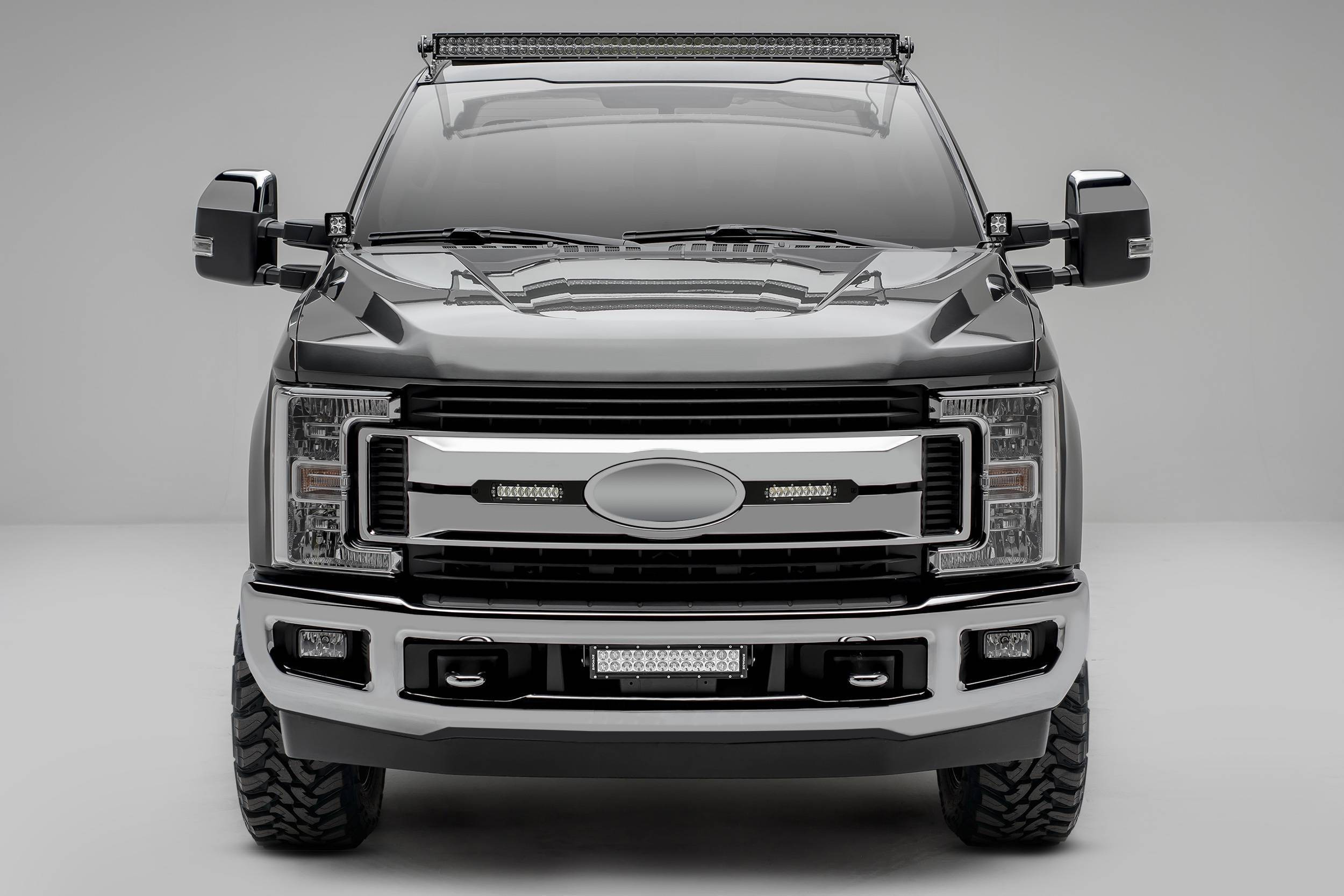 ZROADZ OFF ROAD PRODUCTS - 2017-2019 Ford Super Duty XLT, XL STX OEM Grille LED Kit with (2) 6 Inch LED Straight Single Row Slim Light Bars, Black - PN #Z415571-KIT