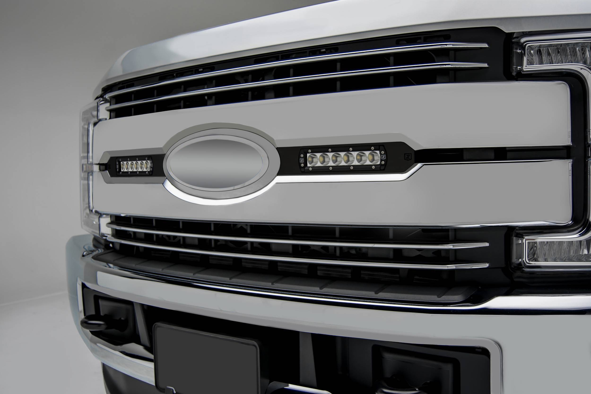 ZROADZ OFF ROAD PRODUCTS - 2017-2019 Ford Super Duty Lariat, King Ranch OEM Grille LED Kit with (2) 6 Inch LED Straight Single Row Slim Light Bars - PN #Z415471-KIT