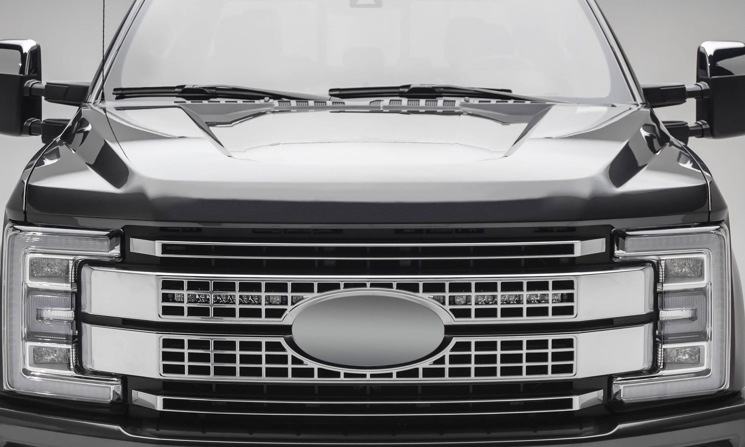 ZROADZ - 2017-2019 Ford Super Duty Platinum OEM Grille LED Kit with (2) 10 Inch LED Single Row Slim Light Bar - PN #Z415371-KIT