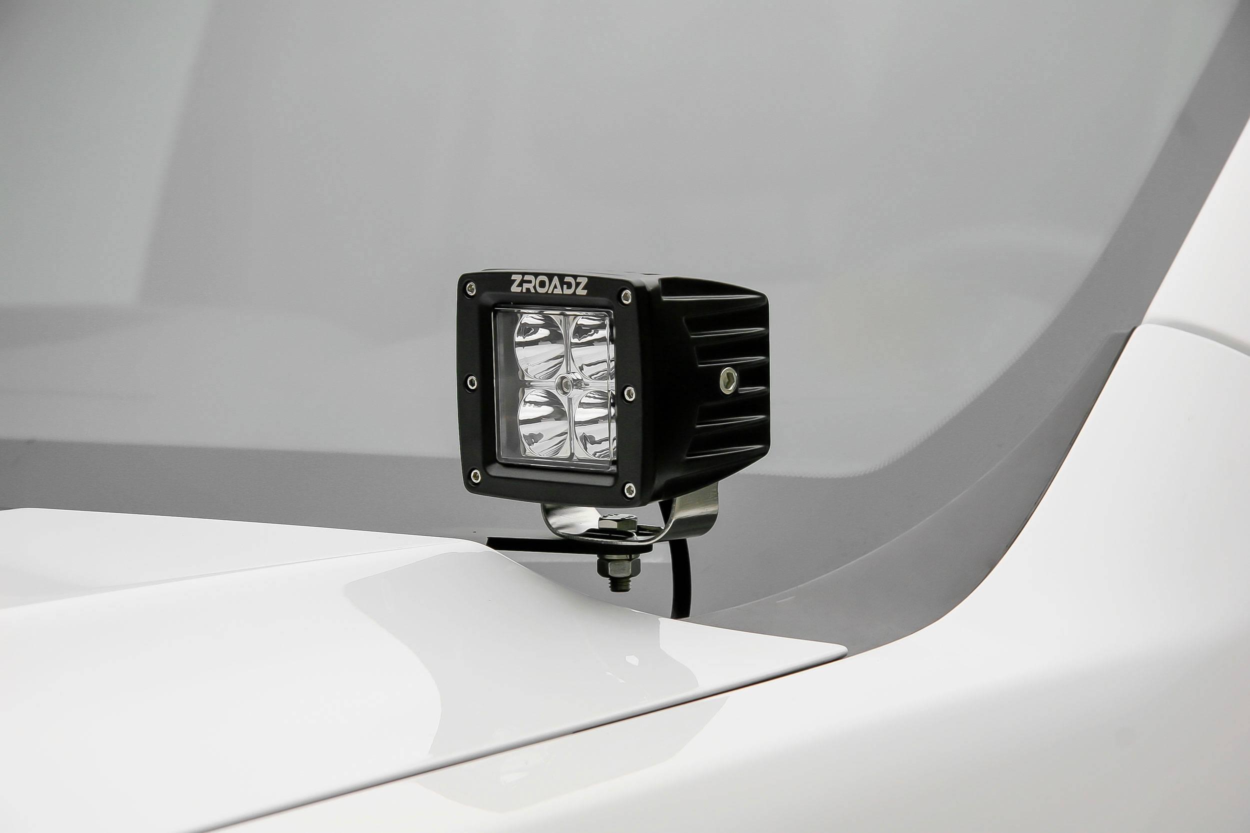 ZROADZ - 2007-2013 Silverado Sierra 1500 Hood Hinge LED Bracket to mount (2) 3 Inch LED Pod Lights - PN #Z362051