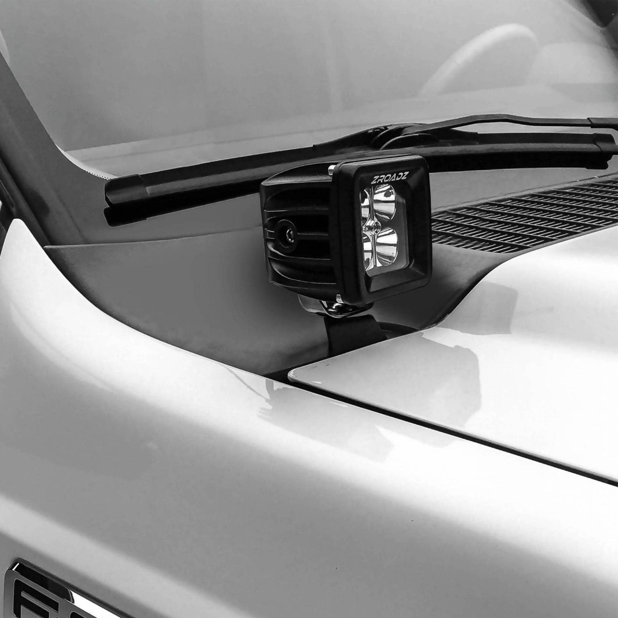 ZROADZ OFF ROAD PRODUCTS - 2011-2016 Ford Super Duty Hood Hinge LED Bracket to mount (2) 3 Inch LED Pod Lights - PN #Z365461