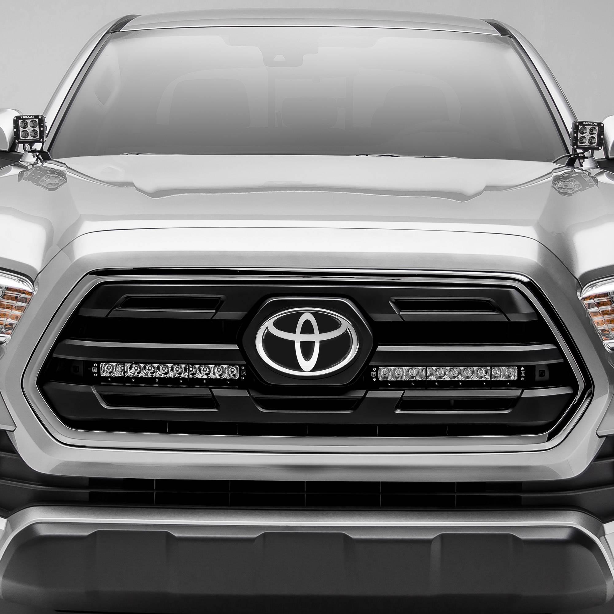 ZROADZ OFF ROAD PRODUCTS - 2018-2019 Toyota Tacoma OEM Grille LED Kit with (2) 10 Inch LED Single Row Slim Light Bars - PN #Z419611-KIT