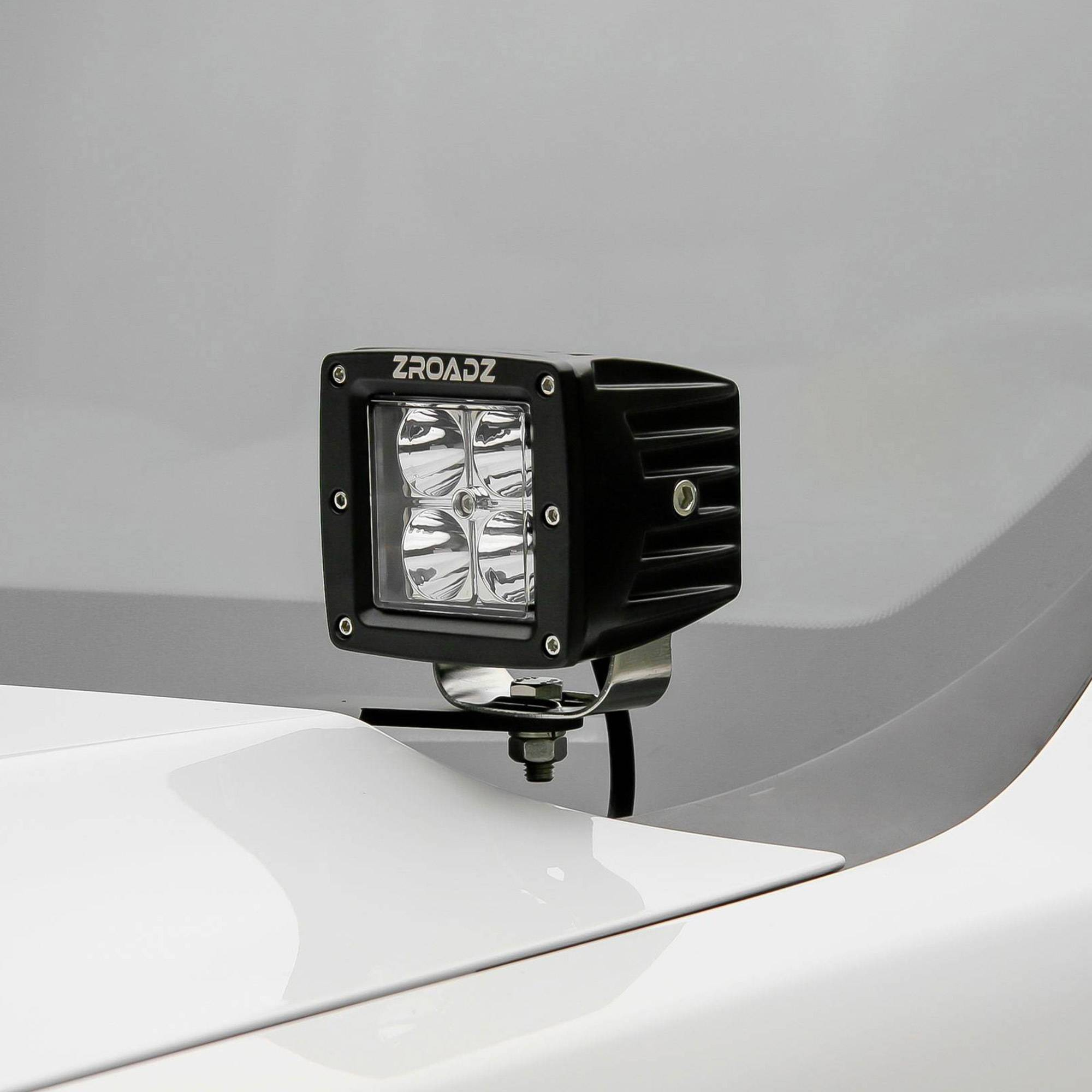 ZROADZ OFF ROAD PRODUCTS - 2008-2010 Ford Super Duty Hood Hinge LED Bracket to mount (2) 3 Inch LED Pod Lights - PN #Z365631