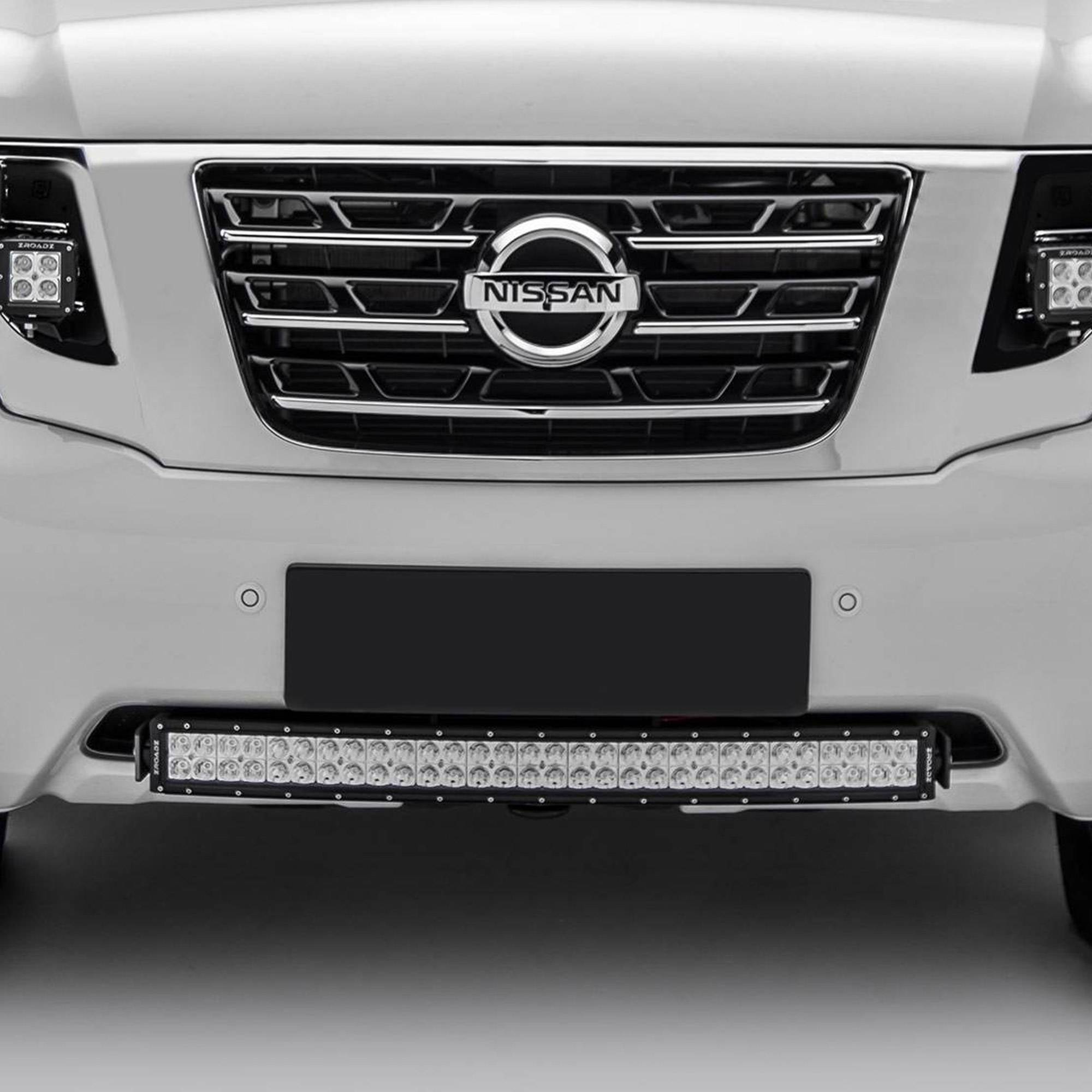 ZROADZ - 2010-2017 Nissan Patrol Y62 Front Bumper Center LED Kit with (1) 30 Inch LED Curved Double Row Light Bar - PN #Z327871-KIT