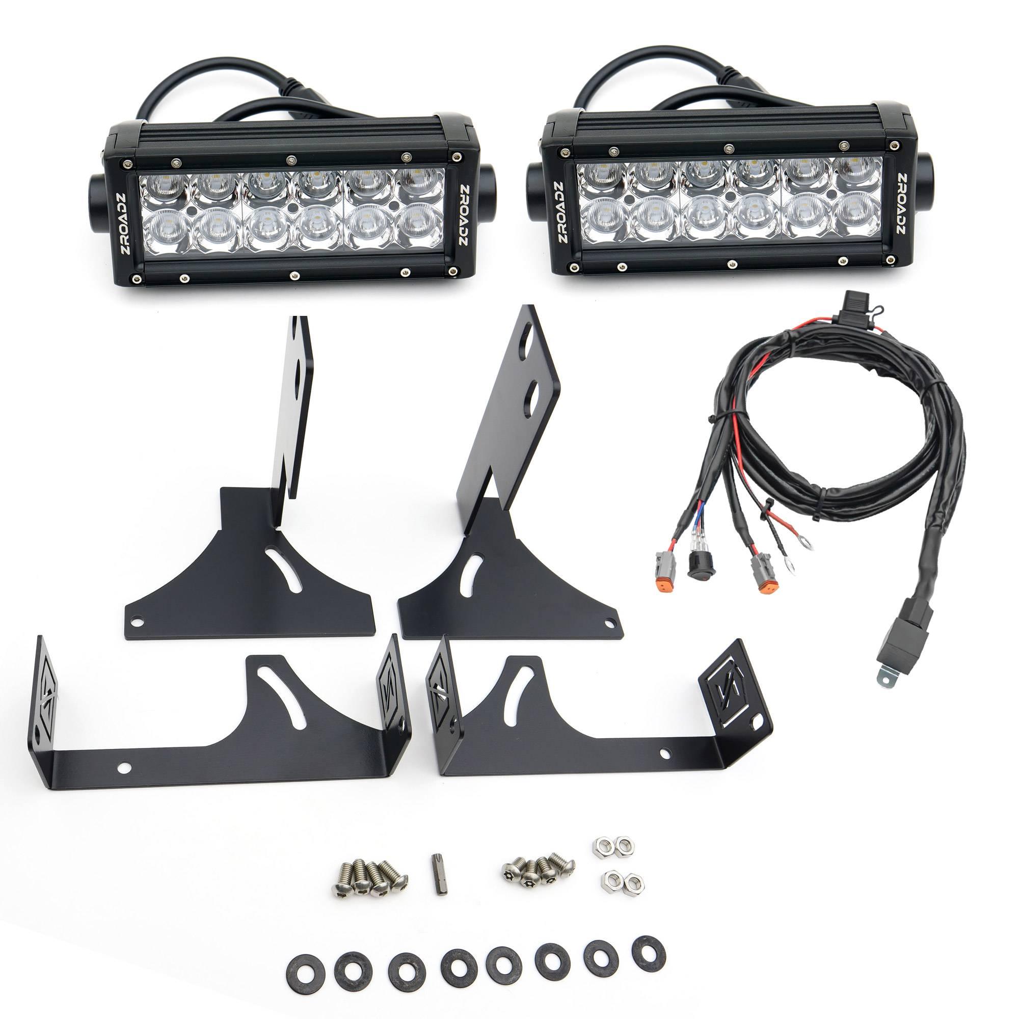 ZROADZ - 2008-2016 Ford Super Duty Rear Bumper LED Kit with (2) 6 Inch LED Straight Double Row Light Bars - PN #Z385461-KIT