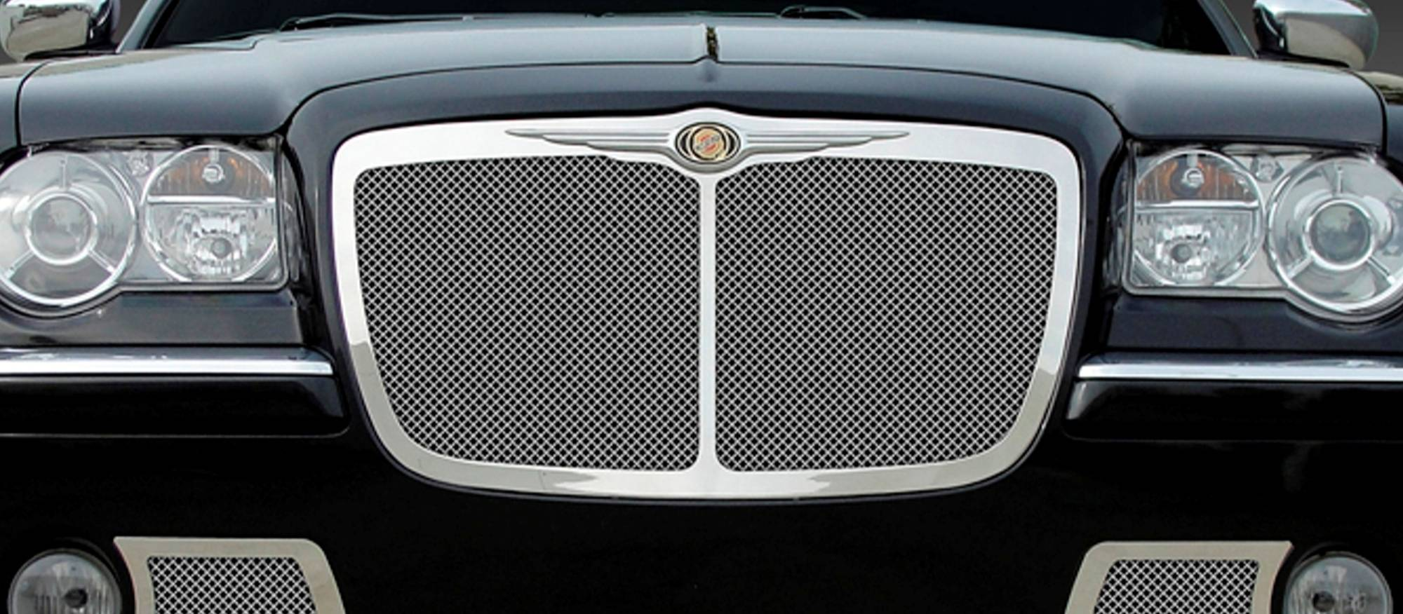 T-REX Grilles - 2005-2010 Chrysler 300, 300C, SRT Upper Class Mesh Grille, Polished, 1 Pc, Replacement, with Center Vertical Bar - PN #54479