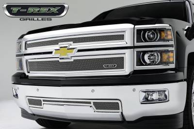Upper Class Series Grilles - T-REX Chevrolet Silverado Upper Class, Formed Mesh Grille, Main, Replacement, 2 Pc's, Polished Stainless Steel - Pt # 54121