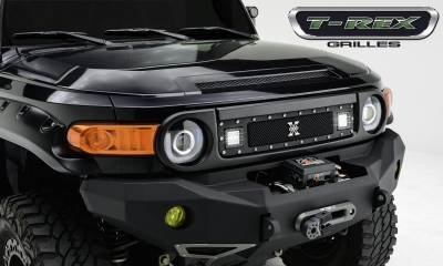"T-REX Grilles - 2007-2014 Toyota FJ Cruiser Torch Grille, Black, 1 Pc, Insert, Chrome Studs, Incl. (2) 3"" LED Cube Lights - PN #6319321 - Image 1"