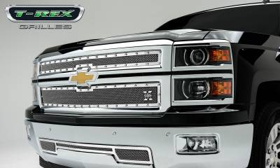 X-Metal Series Grilles - T-REX Grilles - Chevrolet Silverado X-Metal, Formed Mesh Grille, Main, Replacement, 2 Pc's, Polished Stainless Steel - Pt # 6711210
