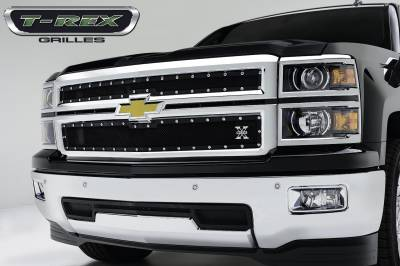 T-REX Grilles - 2014-2015 Silverado 1500 X-Metal Grille, Black, 2 Pc, Replacement, Chrome Studs - PN #6711211