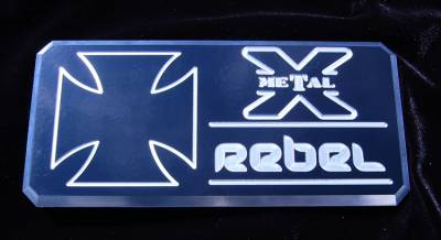 "T-REX Grilles - ALL Most Vehicles ""Rebel"" Series - Body Side Badges - 1 Pc - Black/ Machine - Pt # 6900013"