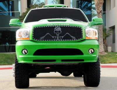 """X-Metal Series Grilles - Grunt Style Grilles - Dodge Ram PU URBAN ASSAULT """"GRUNT"""" - Studded Main Grille w/ Soldier - Black OPS Flat Black  - Custom 1 Pc Opening Requires Cutting center Bars - Pt # 7114616"""