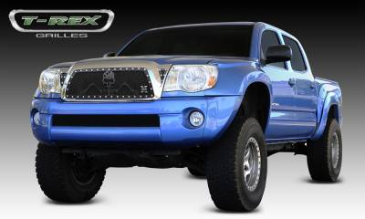 "X-Metal Series Grilles - Grunt Style Grilles - T-REX Toyota Tacoma URBAN ASSAULT ""GRUNT"" - Studded Main Grille w/ Soldier  - Black OPS Flat Black Includes 2 Small Triangle Grille Inserts - Pt # 7119366"