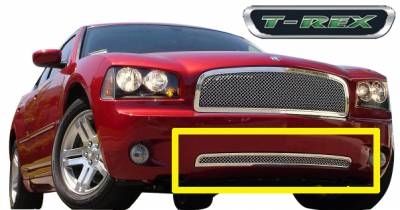 Upper Class Series Grilles - T-REX Grilles - Dodge Charger HYBRID Series Bumper - w/Wire Mesh - Pol. - Pt # 75474