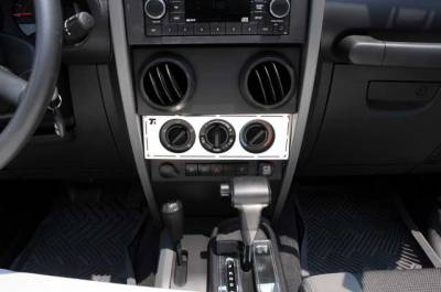 Accessories for Trucks & Cars - T1 Billet Accessories - T-REX Jeep Wrangler T1 Series Interior Dash Trim - Climate Control Panel - Pt # 10488