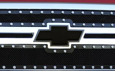 Accessories for Trucks & Cars - Emblems Billet Accessories - T-REX Chevrolet Silverado HD Billet Bowtie - w/Border - Black - Pt # 19114B