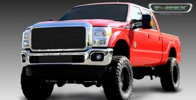 Billet Series Grilles - Ford Super Duty Billet Grille Insert - 1 Pc - W/ Optional Logo Plate - All Black Powdercoat - Pt # 20546B
