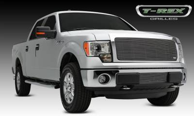 Clearance - T-REX Grilles - Ford F-150 Billet Grille, Main, Insert, 1 Pc, Polished Aluminum, Requires cutting factory grille center - Pt # 20572