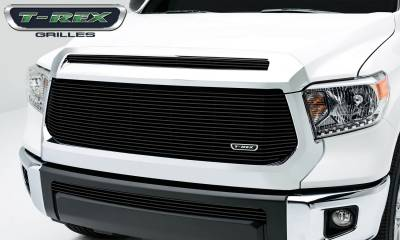 Billet Series Grilles - T-REX Toyota Tundra  Billet Grille, Main w/o OE logo recessed area, Replacement, 1 Pc, Black Powdercoated Aluminum Bars - Pt # 20965B
