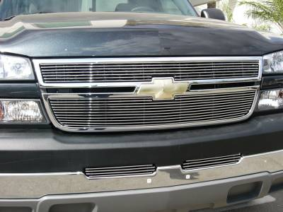 T-REX Grilles - Chevrolet Silverado Billet Grille Overlay/Bolt On & Insert - 2 Pc 7, 11 Bars - Pt # 21106