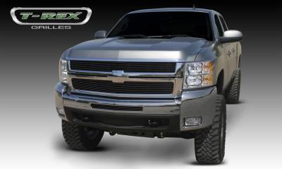 Billet Series Grilles - T-REX Chevrolet Silverado HD Billet Grille Overlay/Bolt On - 2 Pc - All Black - Pt # 21112B