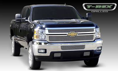 Billet Series Grilles - T-REX Chevrolet Silverado HD Billet Grille Overlay/Bolt or Insert On - 2 Pc - Pt # 21114